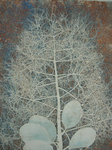 smoke-bush-blues-2-watercolor-monotype-8x10