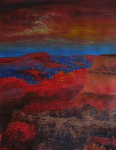 sunset-at-the-grand-canyon-2-acrylic-on-paper-22x30