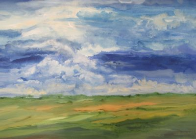 Threatening Skies acrylic on paper 22x30 - $700